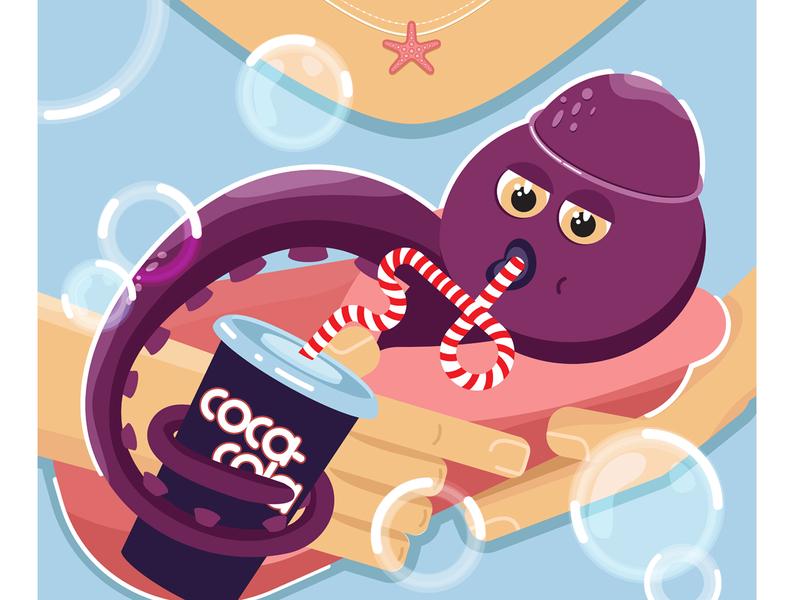 Crazy octopus 2d art artwork colorful crazy coca-cola cocacola octopus character vector art illustrator design digitalart digital
