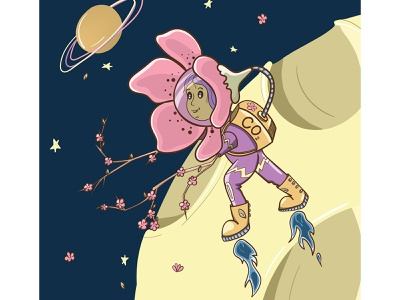 Sakura astronaut adobe illustrator illustrator girl illustration digitalart vector vectorart design character space astronaut