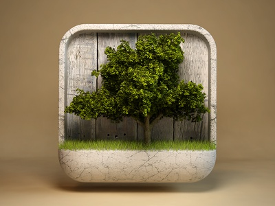 Tree webshocker icon tree ios iphone ipad design 3d photoshop