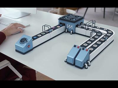 CM - conveyor animation composition ui factory conveyor render animation 3d design webshocker