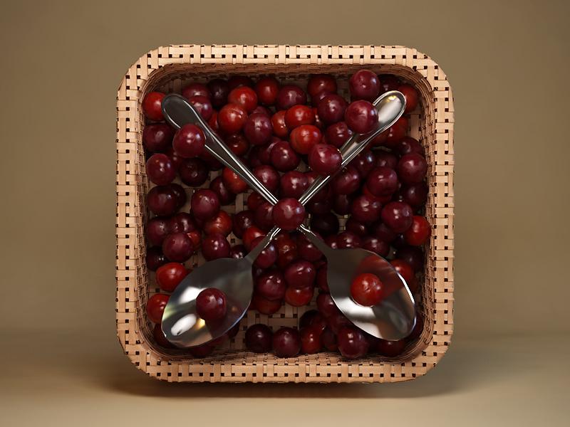 Cherries webshocker icon design 3d cherry cherries spoon basket