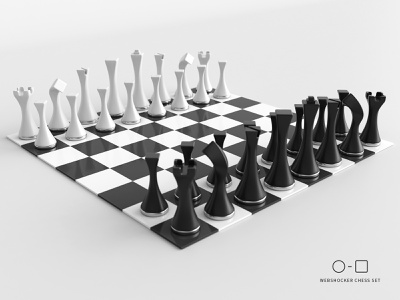 Circle to Square chess set - complete set chessboard king queen bishop knight rook pawn 3d print game product design product chess 3d design webshocker
