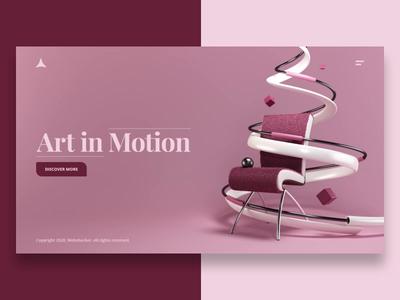 Art in Motion seamless loop abstract chair hero image landing page web design website render 3d animation design webshocker