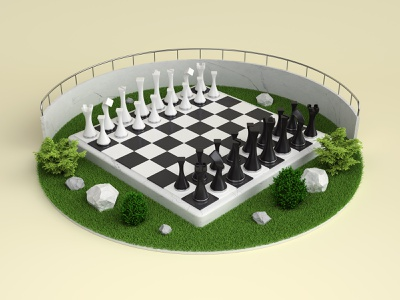 Chess visual 3dsmax vray grass game chessboard visual chess render 3d design webshocker