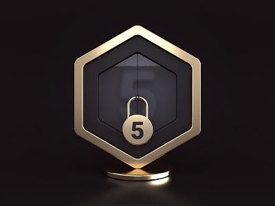 Badge - locked black gold glass app locked badge icon render 3d design webshocker