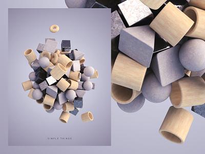 Simple Things - Art print shapes primitives simple poster art print abstract illustration render 3d design webshocker