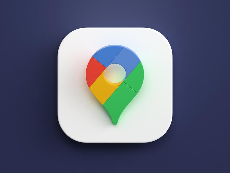 Google maps big sur photoshop 3dsmax vraz render icon design maps google macos app icon 3d design webshocker
