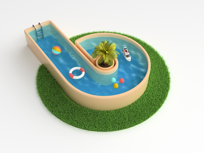 3d logo / visual letter water swimming pool backyard branding illustration logo render 3d design webshocker