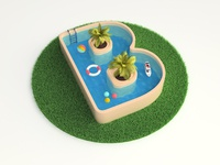 3d logo/visual V2 swimming pool water illustration logo branding icon render 3d design webshocker