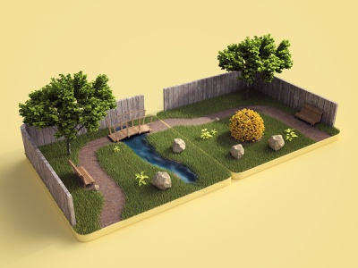 Tiles c4d 3dsmax vray render app game nature tiles website design 3d illustration webshocker