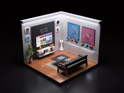 My room - My works c4d 3dsmax vray isometric room branding render 3d illustration design webshocker