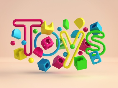 Toys - title 3dsmax vray render 3d fun play kids font lettering toys website illustration design webshocker