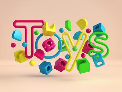Toys - title 3dsmax vray render 3d fun play kids font lettering toys website illustration design webshocker