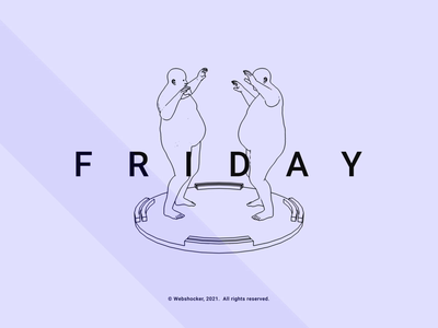 F R I D A Y cartoon character website fun weekend friday line art lines dance render design 3d animation webshocker