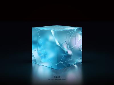CUBE website fracture glass render holographic iridescent cube icon illustration 3d design webshocker