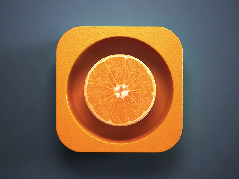 Orange webshocker 3d design ios icon app orange fruit