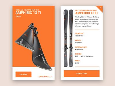 Skis website store shop skiing sport design widget skis webshocker