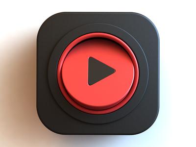 Video app icon video player 3d design icon design icon app video webshocker