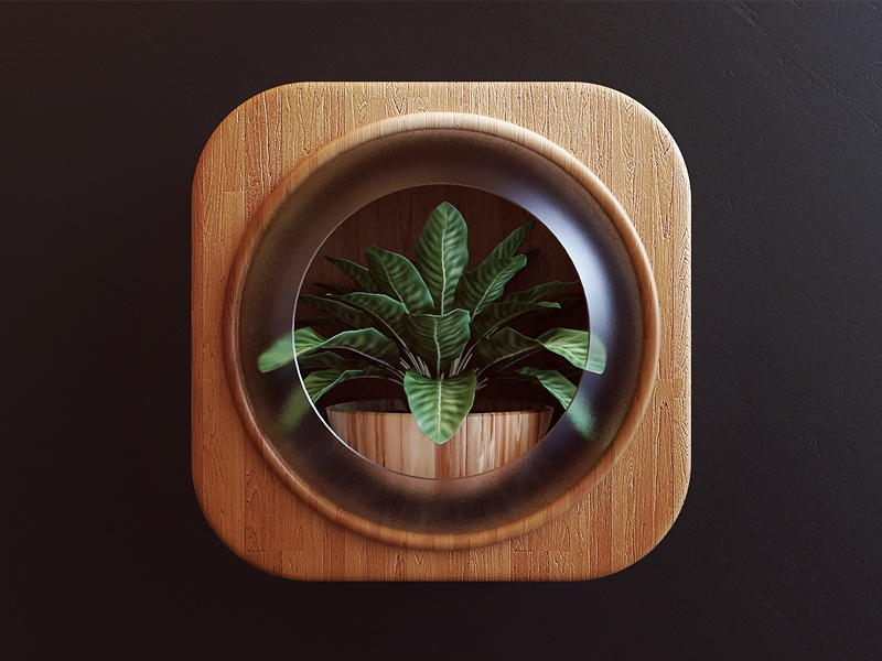 Plant 3d glass wood nature plant icon design ios app icon design webshocker