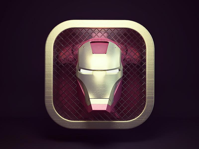 Ironman ios photoshop 3dsmax render 3d app game design icon ironman webshocker
