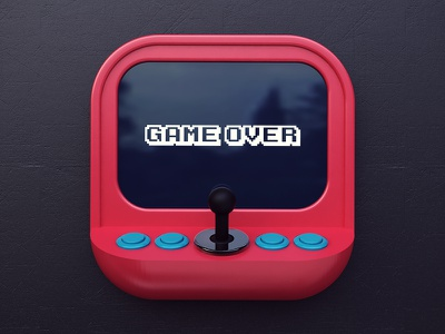 Game Over console arcade tshirt design 3d over app icon game webshocker