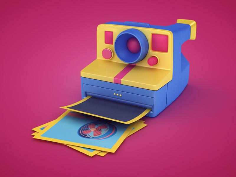 Polaroid anime cartoon polaroid camera render icon 3d design webshocker