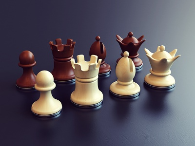Chess queen bishop rook pawn product figures chess 3d design webshocker
