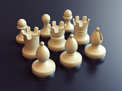 Chess - Variations bishop rook pawn chess render 3d design webshocker