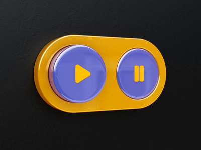 Buttons animation player pause play buttons ui 3d design webshocker