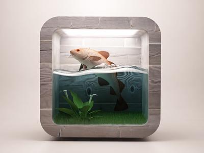Fish ios icon webshocker 3d ios icon design fish