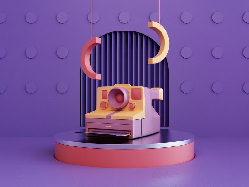 Composition II print art polaroid camera abstract render 3d design webshocker