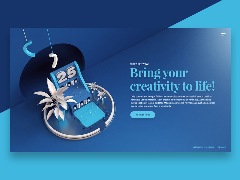 Visual Website II creative abstract art landing page hero visual ux ui website 3d design webshocker