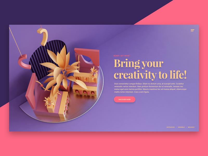 Visual Website III render art abstract landing hero ui website 3d design webshocker