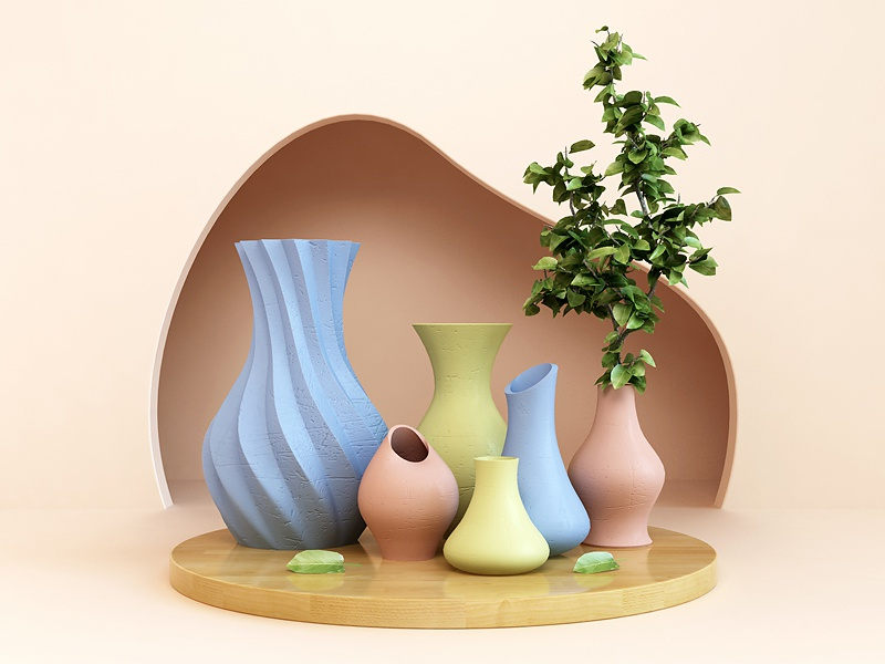Vases - Composition print art composition vases vase abstract render 3d design webshocker