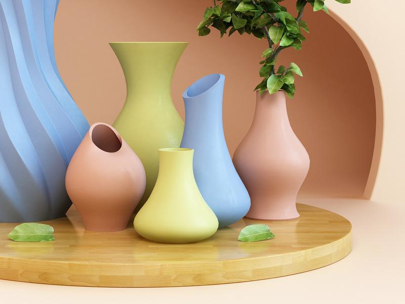 Art print abstract art render vases dribbble society6 art print 3d design webshocker
