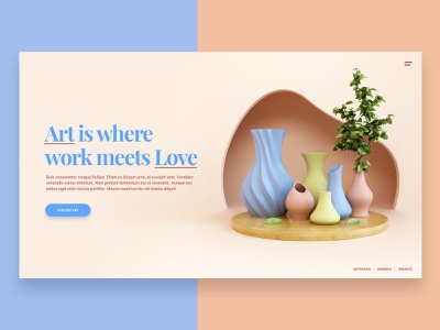Art Visual image hero landing layout dribbble abstract website render 3d design webshocker