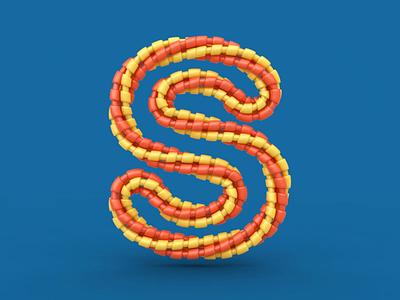 S loop lettering font icon render animation 3d design webshocker