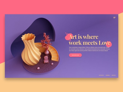Website Visual banner hero image layout art brand visual illustration abstract website render 3d design webshocker