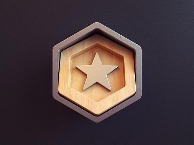 Badge hexagon star metalic wood award badge render icon 3d design webshocker