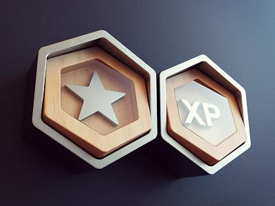 Badges - perspective metalic wood award game art branding illustration website app icon render 3d design webshocker