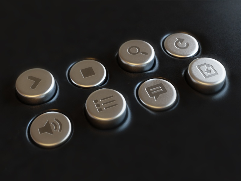 Buttons Video Player webshocker 3d buttons video player photoshop metal chrome
