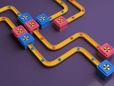 Paths loop data conveyor path render animation 3d design webshocker
