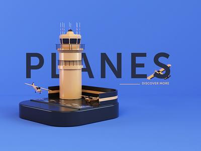 Planes - animated cover planes flying loop landing cover website render animation 3d design webshocker