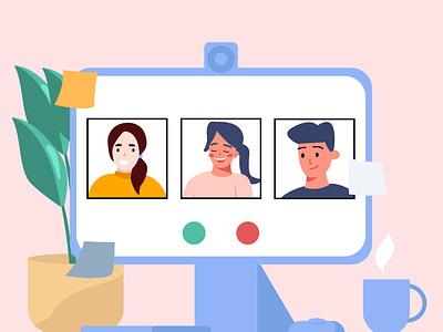 Online chat ui vector adobe illustrator boy girl blue computer pc chat illustration illustrator online
