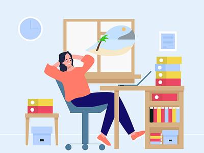 Burnout, vacation dreams characters flatdesign leisure dream work worker flat blue illustration adobe illustrator vector vacation dreams