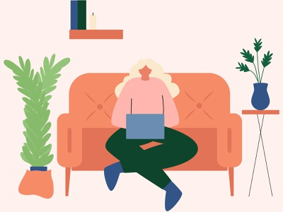 Girl trendy vector flat flat work online work girl adobe illustrator vector illustration