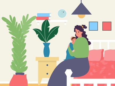 Mother and son flat flat character interior room woman boy motherhood girl love adobe illustrator vector illustration mother day