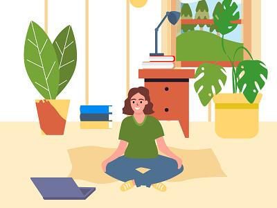 Yoga online character flat trendy vector character flat video yoga online adobe illustrator vector illustration