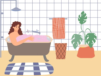Bathroom treatments concept shower illustration adobe illustrator bathroom treatments bathroom design monstera flat illustration bathroom girl in the bathroom vector character vector