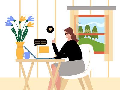 Freelancer flower interior home work character design flat illustration online freelancers girl adobe illustrator vector illustration